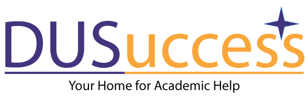 Textual graphic for DUS Success showing DUS in purple text and u-c-c-e-s-s in orange text.