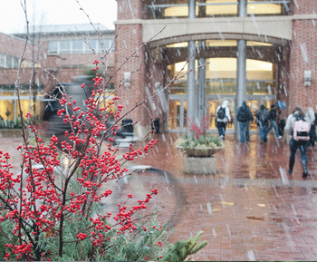 Students walking through heavy snow into the HUB-Robeson Center on the University Park campus.