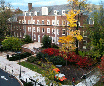 Aerial view of the Grange Building exterior on the University Park campus.