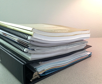 Stack of notebooks.