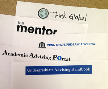 Identity graphics for The Mentor, Academic Advising Portal and Think Global.