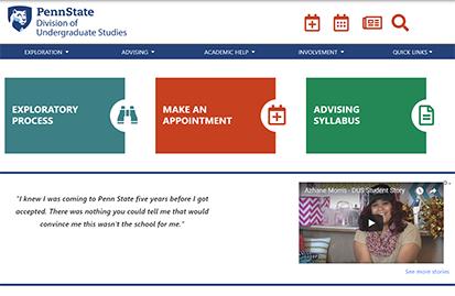 Screenshot of the DUS website.