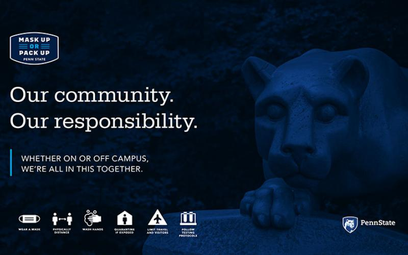 Text graphic with dark blue background and white letters saying One Community, One Responsibility.